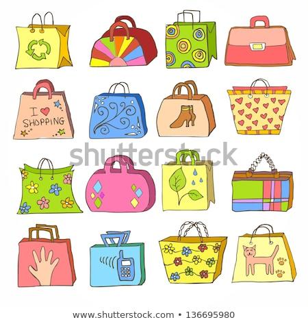 çanta · alışveriş · kar · taneleri · eps · altın · kırmızı - stok fotoğraf © beholdereye