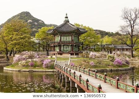 Jardim lagoa Seul Coréia do Sul palácio Foto stock © travelphotography