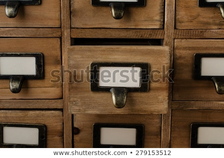 vecchio · file · cassetti · etichette · verticale - foto d'archivio © 3mc