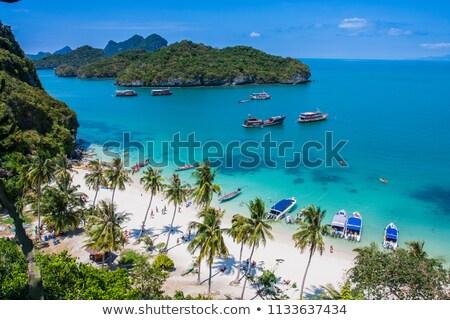 Ada ünlü işaret Tayland deniz kum Stok fotoğraf © sippakorn