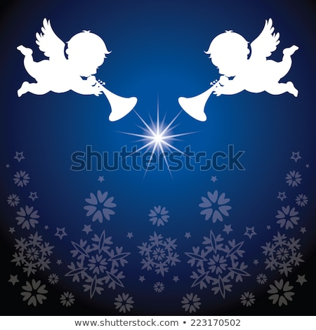 Stockfoto: Angel With Trumpet Silhouette With Snowflakes Illusrtation