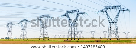 Electrical Transmission Tower (Electricity Pylon) from below. stock photo © brianguest