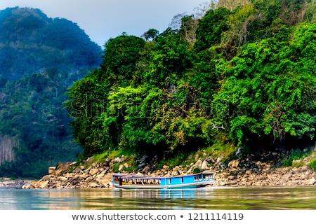 tekneler · nehir · manzaralı · görmek · Tayland · gökyüzü - stok fotoğraf © witthaya