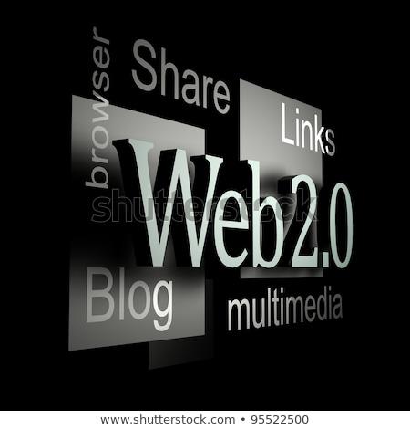 Web 20 handen woord bol Stockfoto © kbuntu