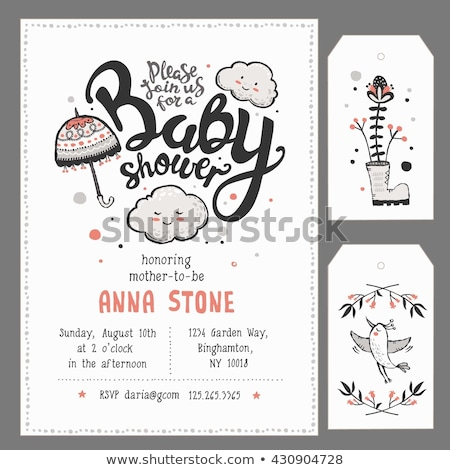 Baba zuhany közlemény kártya virágok lány Stock fotó © balasoiu