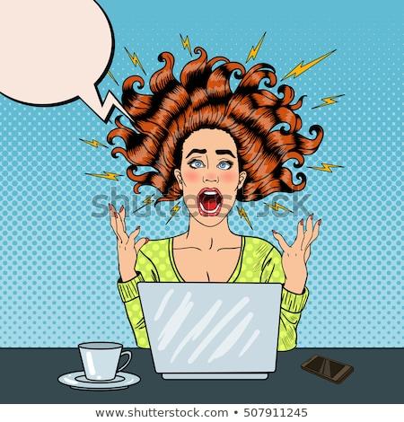 nő · számítógéppel · düh · dühös · üzletasszony · pirszing · számítógép - stock fotó © smithore