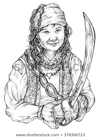 Woman - pirate with a sabre in hands Stock photo © pzaxe