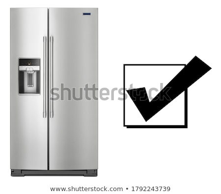 Podwoić drzwi zamrażarka odizolowany czarny biały Zdjęcia stock © ozaiachin