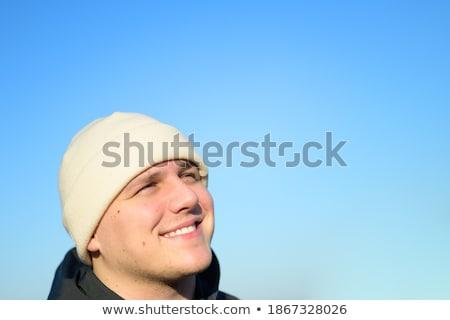 молодым · человеком · Hat · Blue · Sky · рабочих · полях · моде - Сток-фото © Sandralise