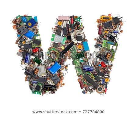 símbolo · eletrônico · placa · de · circuito · alfabeto · branco · um - foto stock © pzaxe