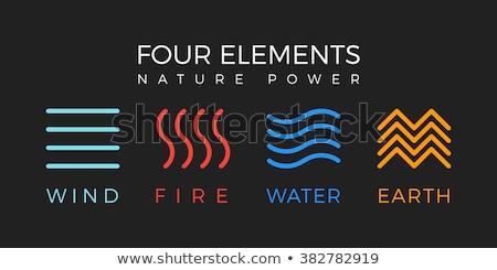 Négy elemek természet víz tűz levegő Stock fotó © vectorArta