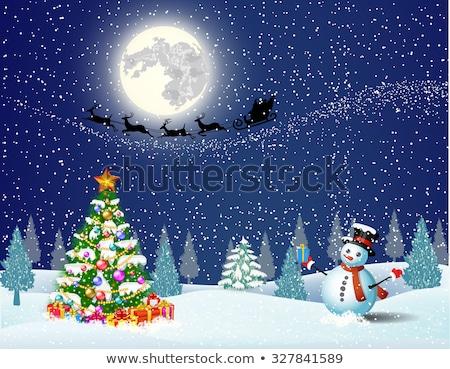 снеговик луна счастливым небе зима звездой Сток-фото © jet_spider