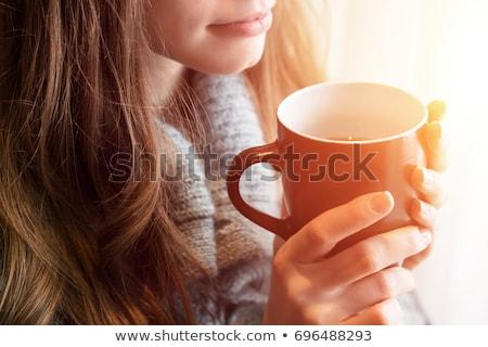 belo · mulher · jovem · bebida · quente · coberto · branco - foto stock © acidgrey