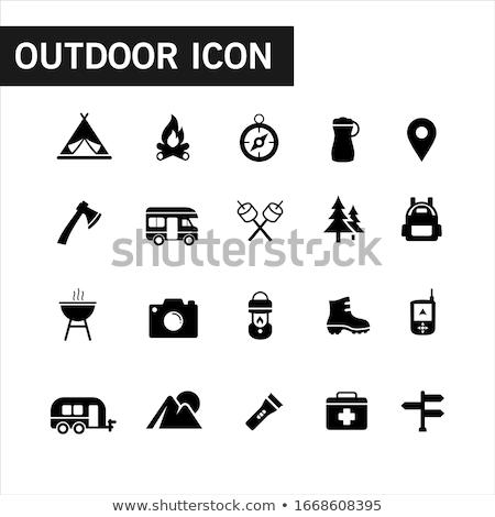 Camping icons black on white Stock photo © lkeskinen
