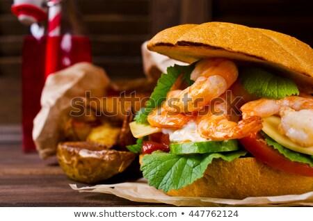 Delicious shrimp burgers stock photo © moses