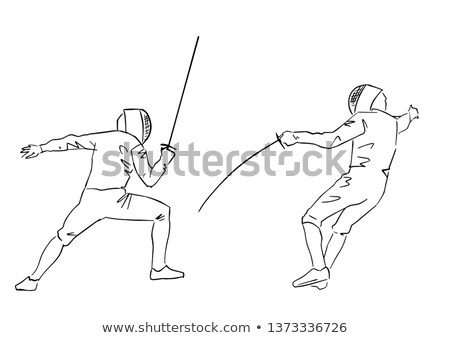 clôture · coucher · du · soleil · illustration · sport · hommes · exercice - photo stock © adrenalina