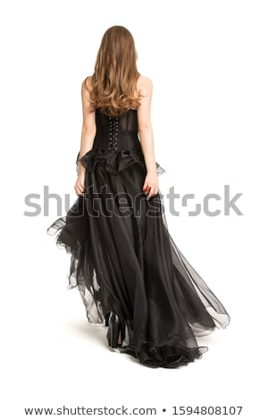Vista posteriore donna nero corsetto gonna Foto d'archivio © Elisanth