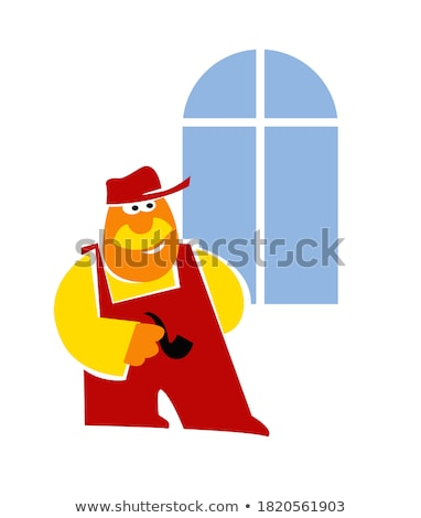 Happy Construction Contractor with Sign Cartoon Vector Image Stock photo © chromaco