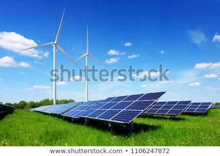 Stock photo: Green Meadow With Wind Turbine