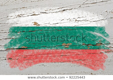 Flag Of Bulgaria On Grunge Wooden Texture Painted With Chalk Foto stock © vepar5