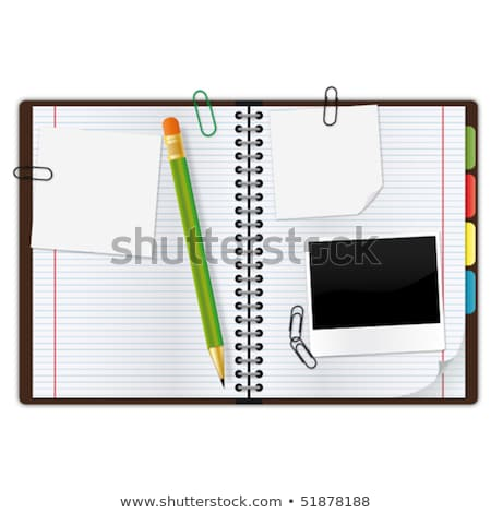 Notebook segnalibri matita eps10 ufficio tecnologia Foto d'archivio © OlgaYakovenko