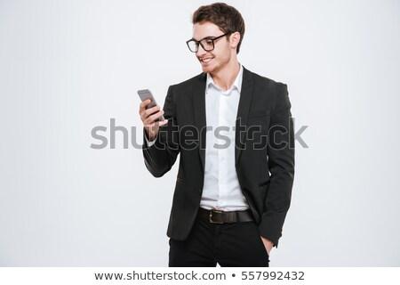 zakenman · mobieltje · wachten · station · man · technologie - stockfoto © massonforstock