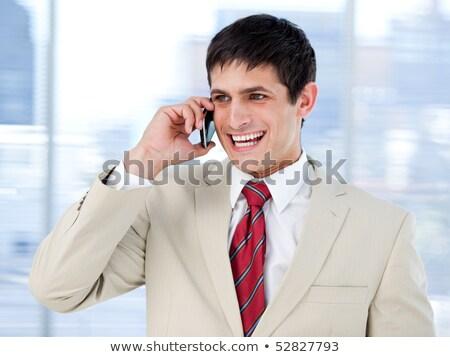 Charismatische zakenman mobieltje portret zwarte Blauw Stockfoto © pablocalvog