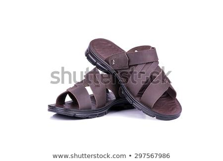Nuevos sandalias aislado blanco marrón fondo Foto stock © artush