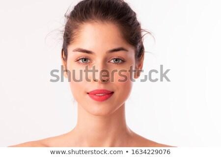 mulher · batom · vermelho · sorrindo · modelo · retrato - foto stock © wavebreak_media