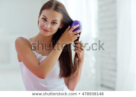 gyönyörű · nő · fésű · fényes · kép · nő · arc - stock fotó © dolgachov