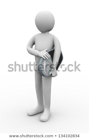 3d man holding bathroom weight machine Stock photo © ribah