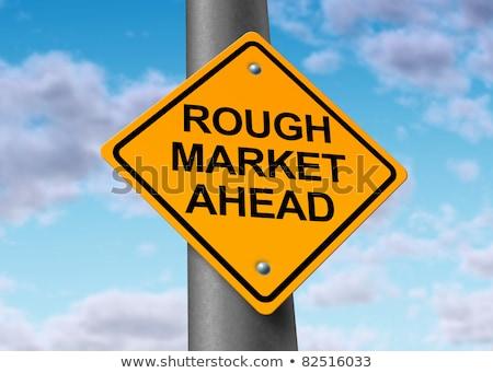 Foto stock: Estrada · à · frente · mercado · de · ações · símbolo · amarelo