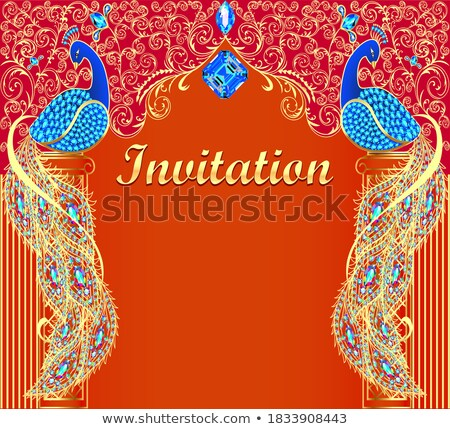 background with precious stones and gold ornaments leaves stock photo © yurkina