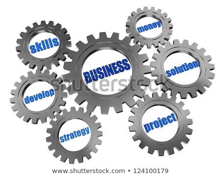 marca · negocios · palabras · plata · gris · 3D - foto stock © marinini