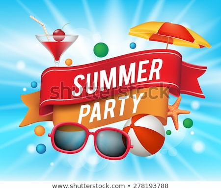 Vector Summer Beach Party Flyer Design with sunglasses and starfish on blue background stock photo © articular
