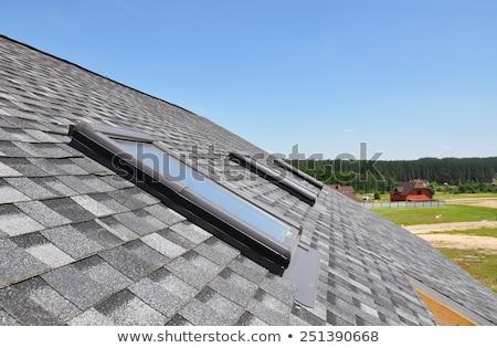 Foto stock: Azul · telhado · clarabóia · janela · chaminé · nuvem