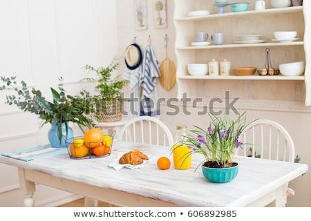 ストックフォト: プレート · 新鮮な · 果物 · 花 · 木製 · チェア
