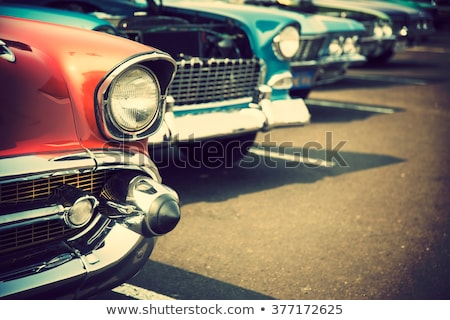 Mooie klassiek auto venster Blauw Rood Stockfoto © iko