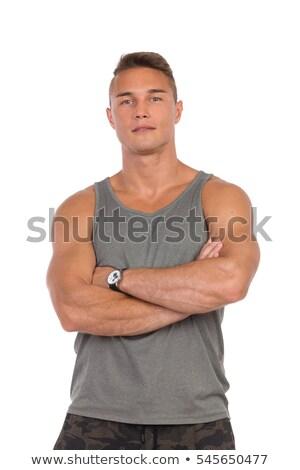 młodych · muskularny · człowiek · talia · ręce - zdjęcia stock © maros_b