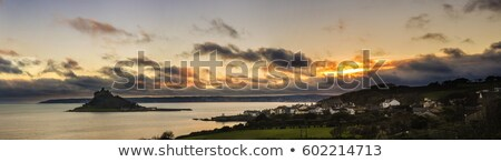 Silhouette cornwall ciel ville paysage sunrise Photo stock © chris2766