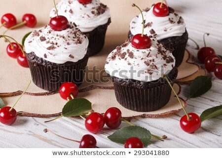 Chocolate Cherry Cupcakes Stock photo © songbird