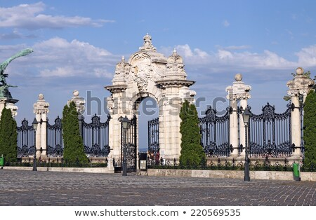 Old historical iron gate of Buda Castle in Budapest Stock photo © pixachi