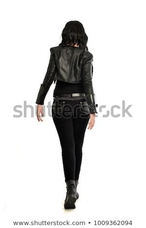 Punk kız deri ceket kadın yüz Stok fotoğraf © Nejron