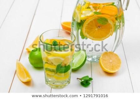 Plakje sinaasappelen water ontwerp energie kleur Stockfoto © wjarek
