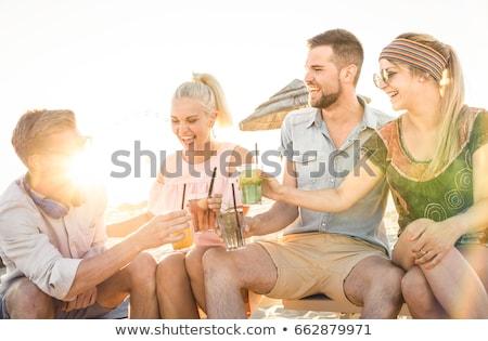szexi · nő · tengerpart · vakáció · iszik · koktél · nő - stock fotó © anna_om