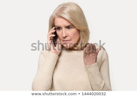 Reifen Geschäftsfrau Gespräch Smartphone Telefongespräch Sitzung Stock foto © HASLOO