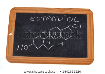 Blackboard with the chemical formula of estradiol Stock photo © Zerbor