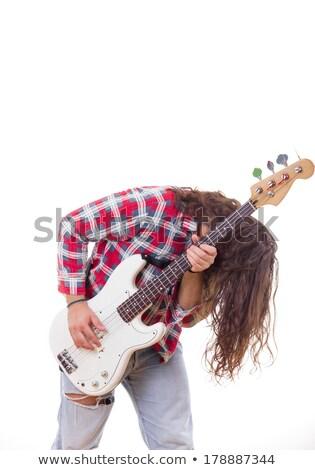 Férfi póló haj játszik elektromos basszus Stock fotó © feelphotoart
