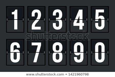 Cijfers mechanisch scorebord ingesteld dun doopvont Stockfoto © tashatuvango