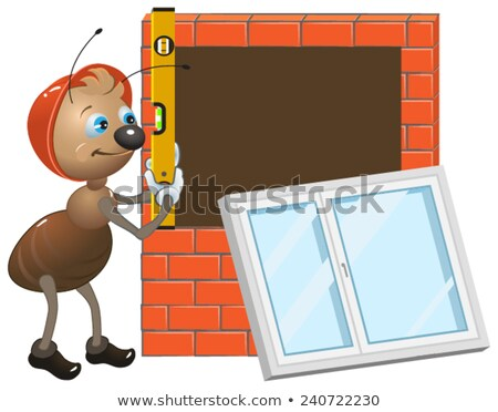 Ant worker. Installing plastic window Stock photo © orensila